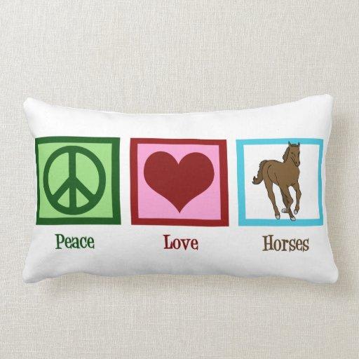Caballos del amor de la paz cojin