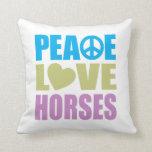 Caballos del amor de la paz cojines