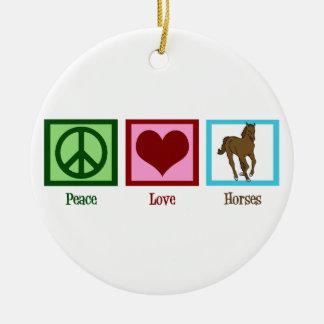 Caballos del amor de la paz adornos de navidad
