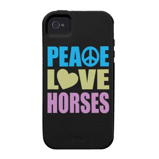 Caballos del amor de la paz Case-Mate iPhone 4 fundas