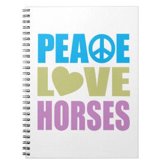 Caballos del amor de la paz libreta