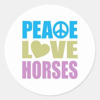 Caballos del amor de la paz pegatina redonda