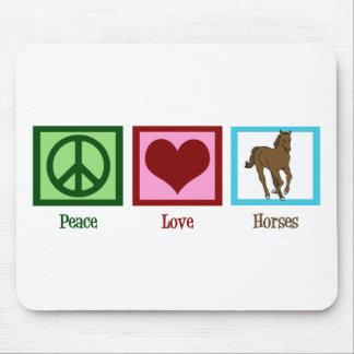 Caballos del amor de la paz tapete de ratón