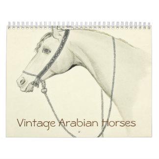 Caballos del árabe del vintage calendario de pared