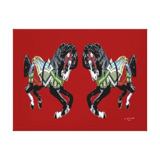 Caballos del carrusel lona envuelta para galerías