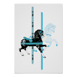 Caballos del carrusel póster