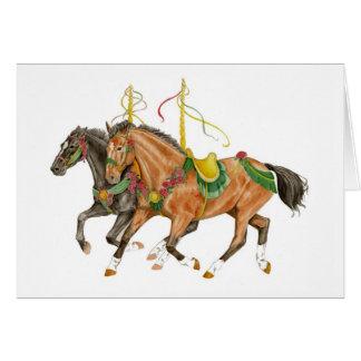 Caballos del carrusel tarjeta de felicitación