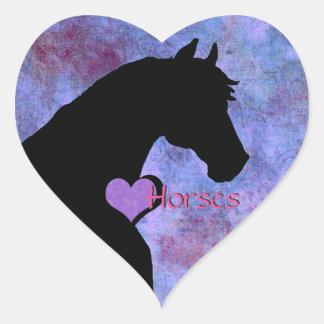 Caballos del corazón II (púrpuras/azul) Pegatina En Forma De Corazón