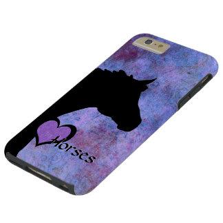 Caballos del corazón IV (púrpuras/azul) Funda De iPhone 6 Plus Tough