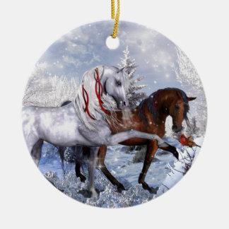 Caballos del día de fiesta del navidad adorno navideño redondo de cerámica