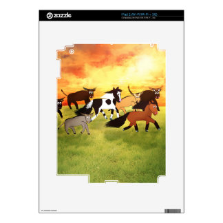 Caballos del dibujo animado que corren con Bull Calcomanías Para iPad 2
