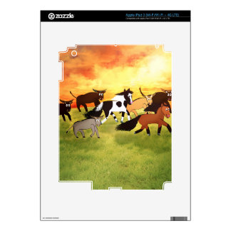 Caballos del dibujo animado que corren con Bull Pegatina Skin Para iPad 3