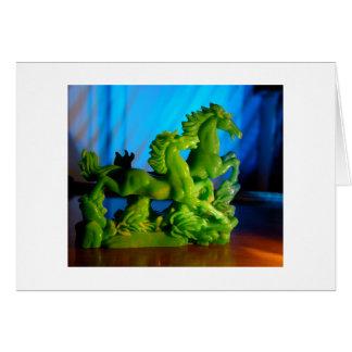 Caballos del jade tarjeta de felicitación