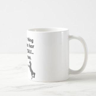 Caballos del miedo sí mismo taza de café