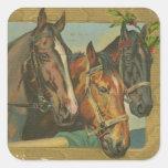Caballos del navidad del vintage calcomanías cuadradas personalizadas