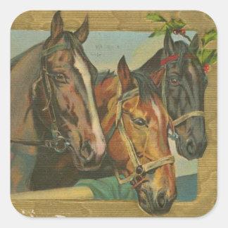 Caballos del navidad del vintage pegatina cuadrada