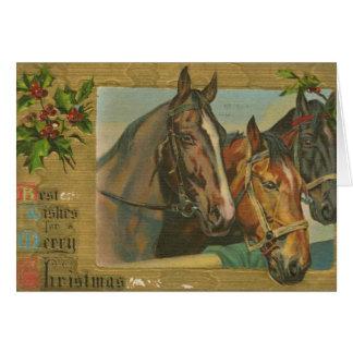 Caballos del navidad del vintage tarjeta de felicitación