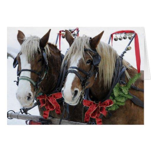 Caballos del navidad tarjeta