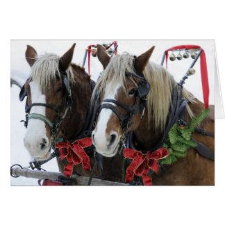 Caballos del navidad tarjeta de felicitación
