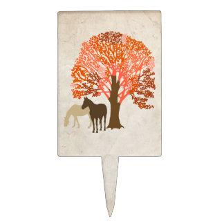 Caballos del otoño del naranja y de Brown Decoración Para Tarta