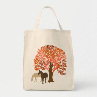 Caballos del otoño del naranja y de Brown Bolsa Lienzo