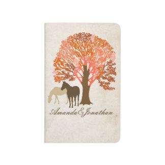 Caballos del otoño del naranja y de Brown Cuadernos Grapados