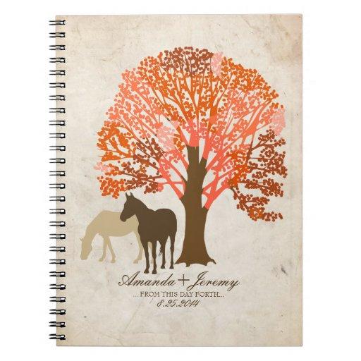 Caballos del otoño del naranja y de Brown Cuadernos