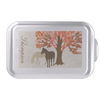 Caballos del otoño del naranja y de Brown Molde Para Pasteles