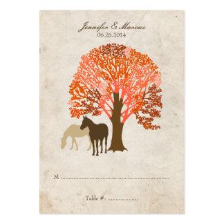 Caballos del otoño del naranja y de Brown Plantilla De Tarjeta De Visita