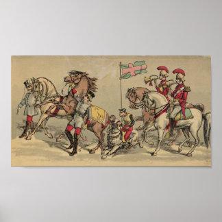 Caballos del vintage en un circo poster