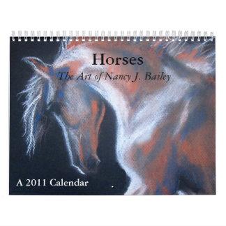 Caballos, el arte de Nancy J. Bailey Calendario De Pared