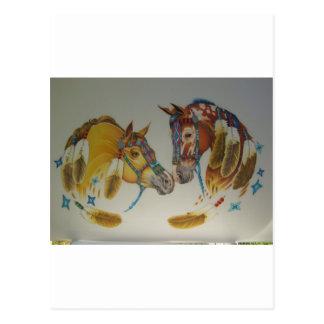 Caballos en dúo en colores pastel postales