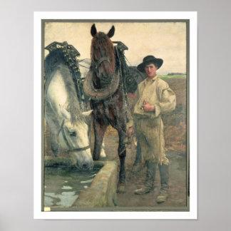 Caballos en el canal del agua, 1884 (aceite en lon poster