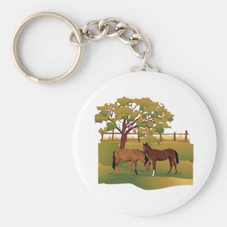 Caballos en el pasto llavero redondo tipo pin