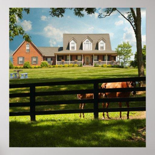 Caballos en la granja poster