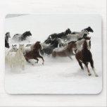Caballos en la nieve alfombrilla de raton