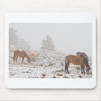 Caballos en la nieve y la niebla del invierno tapete de ratones