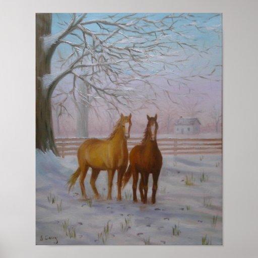 Caballos en la pintura al óleo de la nieve de Juan Poster