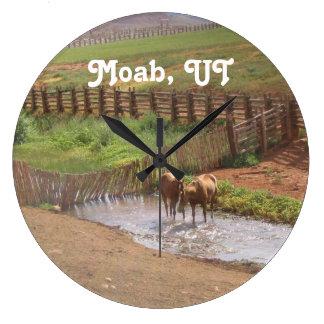 Caballos en Moab Reloj Redondo Grande