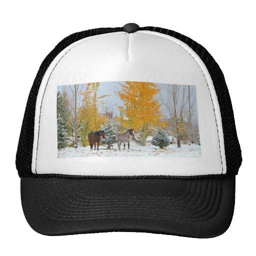 Caballos en nieve con el árbol coloreado gorras