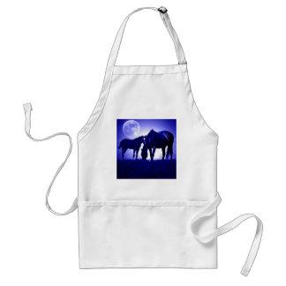 Caballos en noche azul delantal
