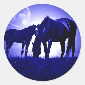 Caballos en noche azul pegatina redonda