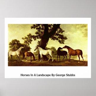Caballos en un paisaje de George Stubbs Posters
