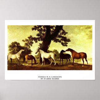 Caballos en un paisaje de Stubbs George Impresiones