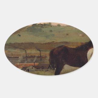 Caballos en un prado de Edgar Degas Pegatina Ovalada