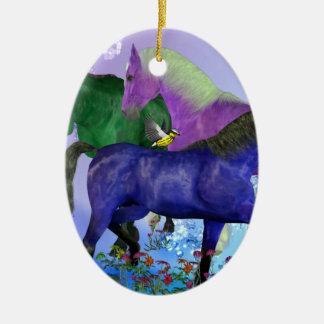 Caballos, fantasía coloreados en fondo púrpura ornamentos de reyes magos