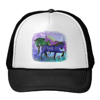 Caballos, fantasía coloreados en fondo púrpura gorras de camionero
