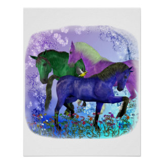 Caballos, fantasía coloreados en fondo púrpura posters