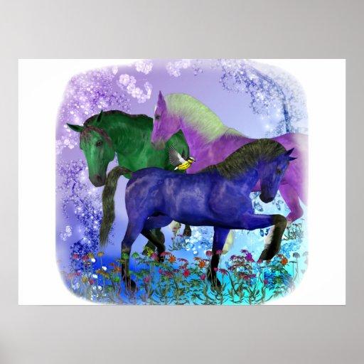 Caballos, fantasía coloreados en fondo púrpura póster