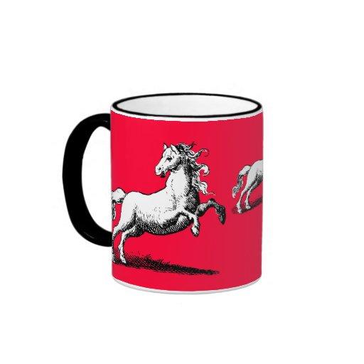 Caballos galopantes rojo y negro elegantes taza de dos colores